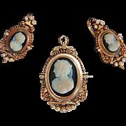 Victorian CAMEO BROOCH / PENDANT & EARRING set - black & white Hard Stone Cameos, 14K Gold ...