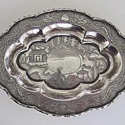 19th Century DRAGON TRAY - Solid Silver China Trade
