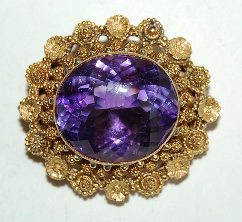 Mid Victorian AMETHYST BROOCH - Cannetille 14K Gold Frame from ...