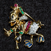 c1945, Vintage DONALD DUCK (Thumbs Up / Bugle) Brooch Clip - 18K Gold, Platinum, Jeweled