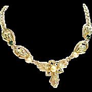 SALE Rare Designer Duane Faux Pearl Repousse Necklace with Emerald Colored Rhinestones