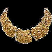 SALE Wonderful Hobe Floral Repousse Bib Necklace