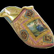Rare Museum Quality Antique Ornate Gilt Porcelain Slipper with Hand Painted Mythological Scene