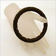 Dark Brown Bakelite Bangle Bracelet Deeply Carved Twist Pattern