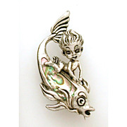 Rare Jewel by CYVRA Naked Sea Pixie on Fish Sterling Abalone Designer Signed Pin