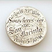 Rare 1836 to 1896 Texas Love Token Battle of San Jacinto 60 Yr. Anniversary on 1893 Quarter Coin
