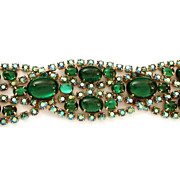 Alice Caviness Bracelet Wide Overlapping AB Stones & Green Glass Cabochons