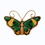Signed David Andersen Sterling Enamel Butterfly Pin, Gold Wash Silver Enameled Green & Yellow
