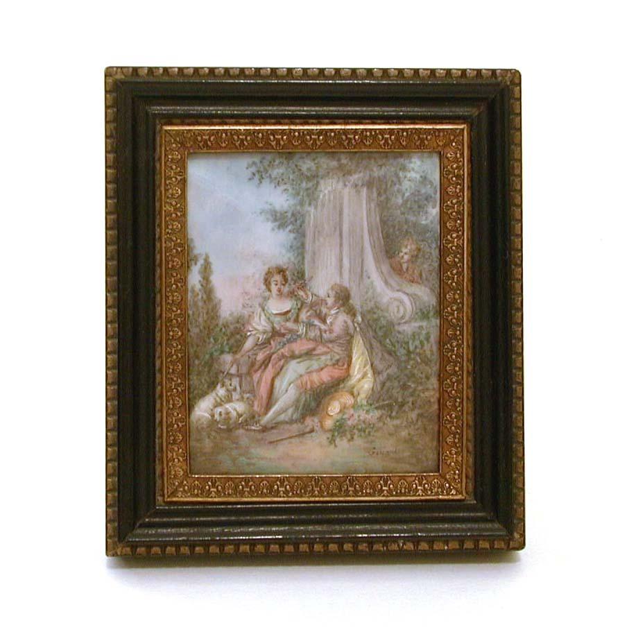 Antique Miniature Painting Pastoral Couple & Voyeur After Boucher