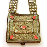 Antique Turkoman Heykal Leather Amulet Pouch Silver Plaques & Carnelian Stones