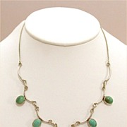 Lovely Scallop Edge Sterling & Turquoise Necklace