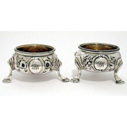 SOLD Pair Victorian Sterling Open Salt Cellars with Heavy Repousse Work by Robert Harper 1862