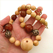 Tibet & Chinese Ching Dynasty Beads - Camel Bone, Carnelian & Sterling Filigree Ruth F