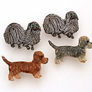 Puppy Dog Pins, Gerry's Pekingese, Enamel Gerrys, Dog Jewelry, Long Hair Dachshund