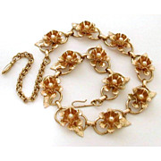 1950's Necklace Raised Flowers Double Petals & Faux Pearls in Gold Tone