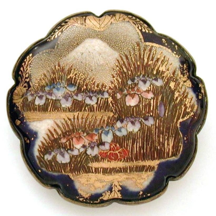 Large Satsuma Brooch Mount Fuji & Iris Blossoms Cobalt Blue Scallop Border, Signed Shimazu Mon Crest