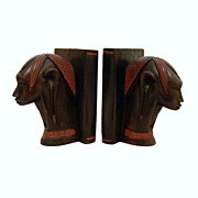 African Carved Wood Elegant Stylized Heads Bookends