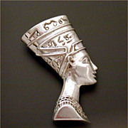 Sterling Egyptian Revival Pendant Nefertiti Bust by Ferrara