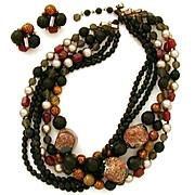 Signed Eugene Demi Parure Goldstone Matte Glass Confetti Lucite Beads Necklace Earrings