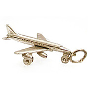 Large Uncas Mechanical Sterling Charm - Airplane Plane Rolling Wheels