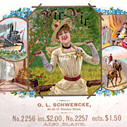 O.L. Schwencke Pir-Nir Cigar Box Label circa 1890