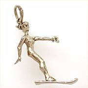 Sexy Girl Water Skier, Water Ski - Detailed Sterling Charm