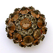 Japanned Pin Reverse Set Cognac & Gray Open Back Rhinestones, Unsigned Schreiner New York
