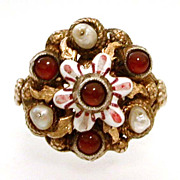 Antique Austro-Hungarian Ruby Pearl Enamel Ring Gilded Sterling