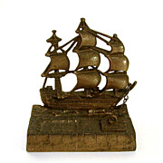 Antique Brass Sailing Ship & Seawall Inkwell