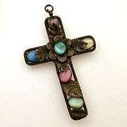 Cross with Czech Glass Multi Color Moonglow Stones