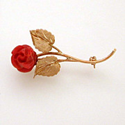 18K Gold & Dark Red Orange Coral Rose Pin Italy