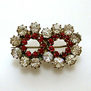 Antique Genuine Red & Clear Paste Brooch Design of Conjoined Circles