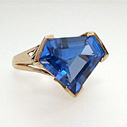 Ultra Modern Blue Stone Cocktail Ring Sterling Vermeil, Size 8 Statement Ring, Runway Jewelry