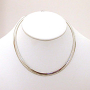 Italian Sterling Omega Necklace Estate Jewelry