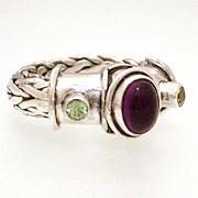 Sajen Designer Ring Heavy Woven Sterling Amethyst Peridot, Size 6