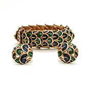 Circa 1965 Boucher Peacock Color Enamel Expansion Bracelet & Earrings