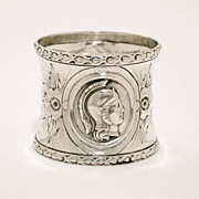 Antique Sterling Medallion Napkin Ring Pair of Soldier Cameos