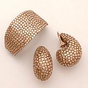 1980's Richard Kerr Golden Rhinestone Encrusted Earrings & Hair Clip