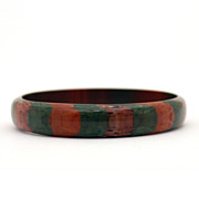 Striped Lucite Bangle Bracelet Brown Green Tan Stripes True Vintage