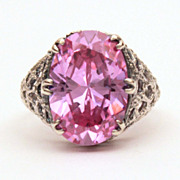 Sparkling Purple Pink CZ Sterling Filigree Ring