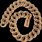 10k Gold Starter Charm Bracelet Double Links Curb Style