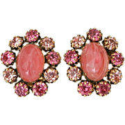 Signed Schreiner New York Swirled Pink Glass Cabochon & PInk Rhinestone Clip On Earrings - Bubble Gum Pink