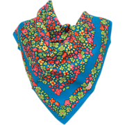 LIBERTY of LONDON Silk Scarf - Flowers in Hot Pink, Pea Green, Yellow, Orange on Bright Blue -