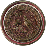 Antique Picture Button Brass with Purple Patina Bird in Fantasy Flowers Victorian Aesthetic Se