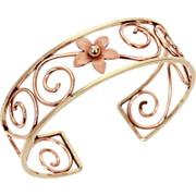 Krementz Bracelet 2 Tone Gold Filled Cuff in Yellow Gold & Rose Gold - Lacy Openwork Floral Design1