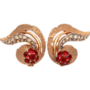 Vintage Marcel Boucher Clip-On Earrings Ruby Red & Colorless Pave Set Glass Rhinestones Dramat