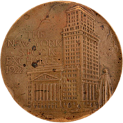 1922 New York Stock Exchange Bronze Medal 130th Anniversary of Buttonwood Agreement on Wall St