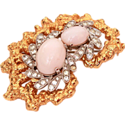 Jomaz BOOK PIECE Pin Faux Angel Skin Coral, Clear Crystal Rhinestones, Gold Plated Setting 196