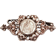 Catholic Devotional Art Nouveau Sterling Pin with Medal Maria Santissima Tindari with Lily Flo