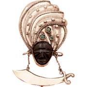"""1940's Pre-Eagle Mexico Sterling Pin - Large at 4.25"""" - Onyx Face in Huge Turban with Tur"""